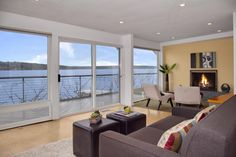 Water Front Staged Modern Living Room Design by Seattle Staged To Sell Apartment Interior Design, Decor Interior Design, Interior Decorating, Garage Apartment Floor Plans, Cheap Home Decor Stores, French Country Interiors, Small Studio Apartments, Seattle Homes, Furniture Placement