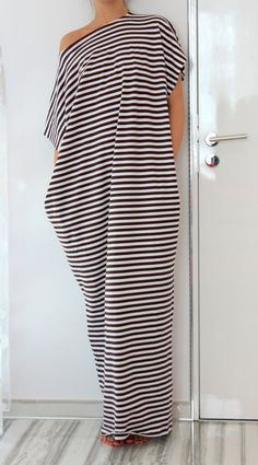 White and Brown stripes Maxi oversized plus by cherryblossomsdress