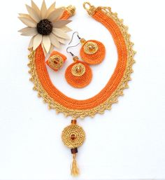 Hand Crochet Beaded Orange Golden Necklace / by CraftsbySigita  www.etsy.com/shop/CraftsbySigita