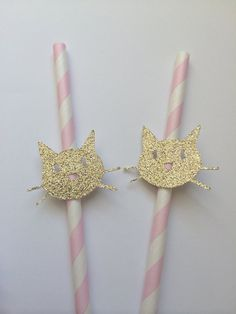 20 GOLD Glitter Kitty Cat Paper Straws on by PaperTrailbyLauraB