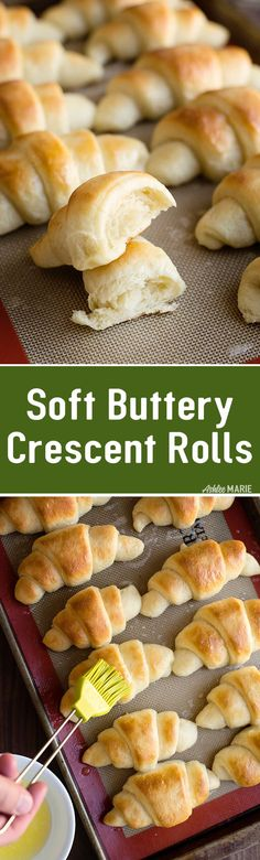these soft and buttery crescent rolls are easy to make and taste amazing. full video tutorial via Homemade Crescent Rolls, Homemade Rolls, Crescent Roll Recipes, Cresent Rolls, Homemade Breads, Quick Bread Rolls, No Bake Treats, Rolls Recipe, Dinner Rolls
