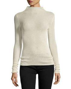 B3QXP Isabel Marant Mock-Neck Knit Sweater, Ecru