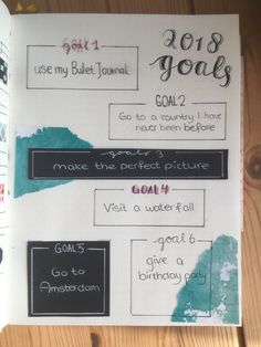 These are my goals for the coming year. What are yours? Write it down in this 'goals page'! Nice bullet journal idea