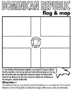 Sponsor a child in the Dominican Republic? Here is a coloring page of their country flag and a couple of facts about this island country.