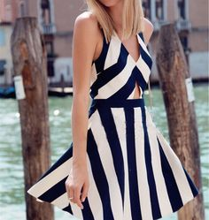 Sexy striped V-neck sleeveless dress