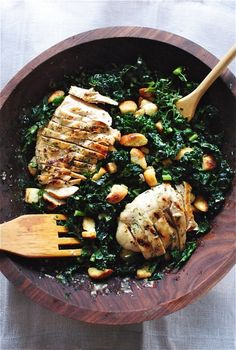 Kale Caesar Salad with Grilled Chicken by bevcooks #Salad #Kale_Caesar #Chicken #Healthy