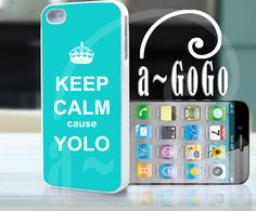 phone cases | Iphone 5 case keep calm cause yolo turquoise custom cell phone case ...