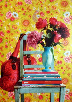 Pip Studio Flowers in the mix yellow wallpaper