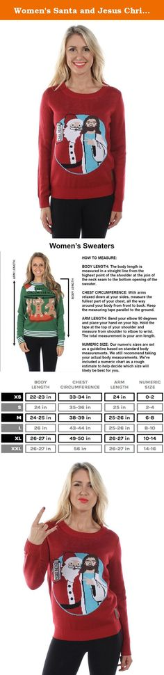 Women's Santa and Jesus Christmas Sweater: Medium. Extremely soft and high quality - will not shrink or itch. Our Christmas sweaters are made with high quality double-panel construction with reinforced seams. Machine washable and built to last. All our products ship within 1-business day and same day when placed before 1pm PST, Guaranteed. 100% Acrylic. See all of Tipsy Elves' Funny Christmas sweaters sold right here on Amazon. Shop over 50 exclusive designs for men and women! All ugly...