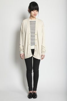 large cardigan, stripes, skinnies, and oxfords