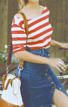 Why hello there Stripes top with high waist - Button down Skirt with Front Slit :) This will totally work for a messy bun and ankle boots with pointed heels!!