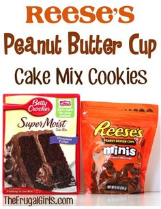 Reese's Peanut Butter Cup Cake Mix Cookies Recipe! {these cookies are so simple to make and ridiculously delicious!! #cookie #recipes   TheFrugalGirls.com