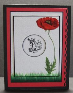 minimalistic poppy on Craftsuprint designed by Gail Collins - made by Elizabeth A  Sanders - Printed on high quality glossy photo paper. Cut out all pieces. Attached pieces with foam pads for 3-D effect. Then attached card front to black card stock. - Now available for download!