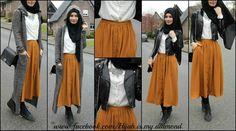 #hijab #style fashion #love #modern #women #long #jacket #grey #long #skirt #model