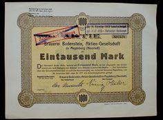 Aktie 1000 M Brauerei Bodenstein AG, Magdeburg Neustadt, 1922 unentw. kein Barov