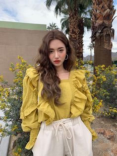 Frilled Square Neck BlouseThe delivery starts from Apr. along with your purchase order! K Fashion, Ulzzang Fashion, Korea Fashion, Asian Fashion, Fashion Outfits, Moda Ulzzang, Ulzzang Girl, Korean Fashion Trends, Korean Street Fashion
