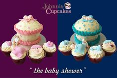 Baby Shower Giant Cupcake with Small Specials! How adorable are these? Whether it's a little boy or a little girl, we have you covered. All our cupcakes are baked from original recipes using the best locally sources ingredients. Take a few minutes to follow Johnnie Cupcakes and check out more of our wonderful cakes! #cupcakes #baking #design #cakedecorating