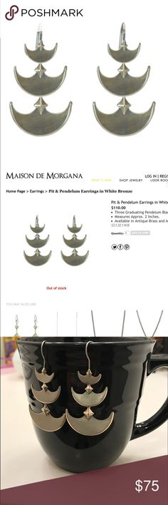 """Maison de Morgana Statement Earrings White Bronze Pit and Pendulum Earrings in Antique White Bronze by Maison de Morgana (MDM); dangle earrings; approx 2""""; retail is $110; currently out of stock on website; these have been worn twice. These match the MDM Pit and Pendulum necklace worn by Drea de Matteo (Wendy) on Sons of Anarchy. Very nice jewelry, very distinctive. Will consider offers or trades. Maison de Morgana Jewelry Earrings"""
