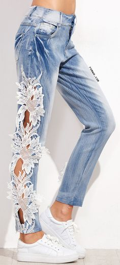 Blue Bleach Wash Lace Crochet Trim Hollow Out Jeans
