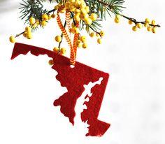 AHeirloom's Maryland Christmas Ornament in Red Felt by AHeirloom, $8.00