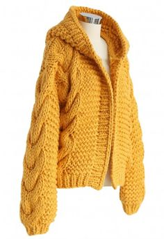 All-Over Warmth Hooded Chunky Cardigan in Mustard - Sweaters - TOPS - Retro, Indie and Unique Fashion High Street Fashion, Chunky Cardigan, Wool Cardigan, Chunky Cable Knit Sweater, Sweater Knitting Patterns, Knitting Designs, Unique Fashion, Knit Fashion, Fashion Outfits