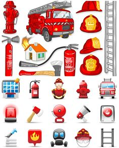 fire station, cartoon | ... fire fighting helmet fire truck siren axe fire station loudspeaker