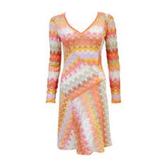 Amazing Missoni Multi Color Long Sleeve Bias Cut Knit Dress