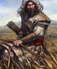 Mongol horse archer - Site Name Twilight Princess, Fantasy Inspiration, Character Inspiration, Character Portraits, Character Art, Fantasy Warrior, Fantasy Art, Attila The Hun, The Elder Scrolls