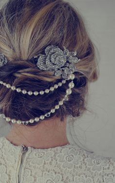 Jules Bridal Jewellery- Double Pearl Bridal Hair piece - ELLE wedding blog