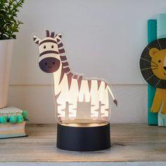 2-in-1 Lion & Zebra USB Children's Light   Lights4fun.co.uk Night Light, Light Up, Acrylic Shapes, Light Table, Baby Room, Little Ones, Playroom, Safari, Lion