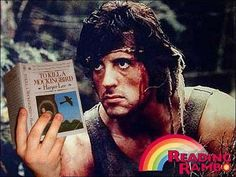 """reading rambo - """"To Kill A Mockingbirg"""".  oh sly, have you figured it out yet?  Sylvester Stallone (closet bibliophile) poses for Reading Rambo."""