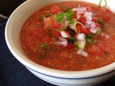 Gazpacho is a cold soup made with tomatoes and cucumbers. Gazpacho is perfect for hot, hot humid days when you dont want to heat up the kitchen