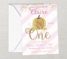 Fall Birthday, First Birthday, Pumpkin Invitation, Birthday Invitation, Printable Invitation, Pumpkin Birthday, Pink Gold, Glitter, Any Age by SarahFinnDesign on Etsy