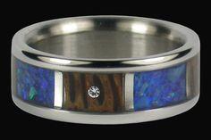 Diamond and Opal Titanium Wedding Band by Hawaiititanium on Etsy, $1207.50