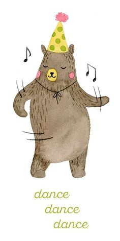 Dancing Bear Watercolor Illustration by Nhung Le for Chic+Nawdie #chicnawdie #nhungle