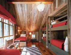 Reclaimed wood, bunk room, red