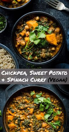 Chickpea, sweet potato and spinach curry - this healthy vegan curry is quick and easy to make, tastes delicious and makes for a very hearty meat-free meal. meat Chickpea, Sweet Potato and Spinach Curry (Vegan) - Domestic Gothess Potato Spinach Curry, Sweet Potato Chickpea Curry, Spinach And Potato Recipes, Chickpea And Spinach Curry, Vegan Chickpea Curry, Spinach Dip, Chickpea Recipes, Veg Recipes, Curry Recipes