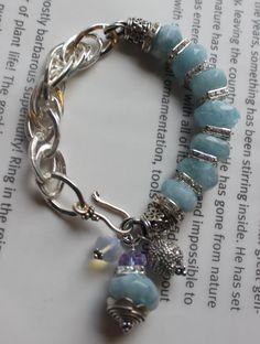 chunky charm bracelet aquamarine bracelet chunky by soulfuledges
