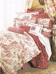 Red toile sofa and drapery - Google Search