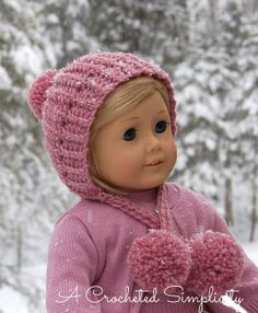 "Free Crochet Pattern   ""Winter Poms"" 18″ Doll Hat   A Crocheted Simplicity"