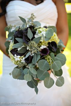 seeded eucalyptus, eggplant mini calla lilies & vandela rose bouquet