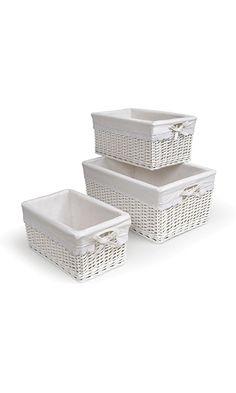 Badger Basket Three Basket Set, White Best Price