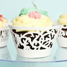 White color grapes and floral design paper cupcake wrappers