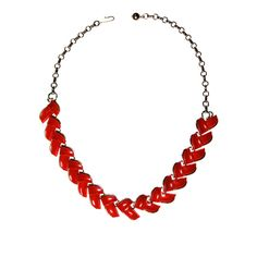 """DESCRIPTION Retro Red FavoriteRed is such a great color to accent or grab attention and this wave style thermoset necklace by Lisner is great go to pair with bright white blouses and tees DETAILS1950s 1960s EraDesigner Signed LisnerRed Thermoset set in Silver Tone J Hook Adjustable ClosureExcellent Vintage ConditionMEASUREMENTS13-17"""" Long 5/8"""" Wide"""