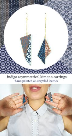asymmetrical kimono earrings - hand painted traditional japanese indigo patterns on recycled leather // by SCANDINAZN