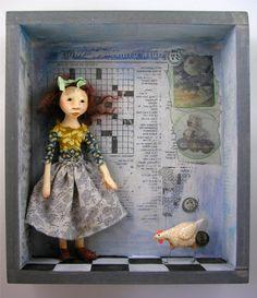 Shadow Box Doll Sculpture girl and her chicken. $220.00, via Etsy.