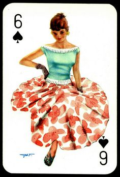 """""""Darling"""" playing card issued in the with artwork by Heinz Villiger Dita Von Teese, Honey Brand, Estilo Pin Up, Trump Card, Vintage Playing Cards, Calendar Girls, Lost Art, Vintage Games, Pin Up Art"""
