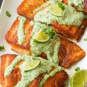 Skillet Seared Salmon with Creamy Cilantro Lime Sauce