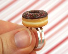 chocolate doughnut ring kawaii polymer clay charms by CMYKlays