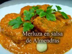 Recetas Caseras Fáciles MG: Merluza en salsa de almendras Spanish Food, Food N, Fish And Seafood, Sweet Recipes, Beef, Chicken, Spain, Vitamins, Homemade Recipe